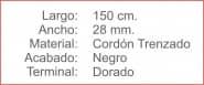 CORDON Trenzado 28 Negro Terminal Dorado