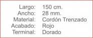 CORDON Trenzado 28 Rojo Terminal Dorado