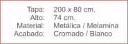 MESA Rectangular Melamina Cromado Blanco 200