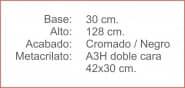 Poste INDICADOR A3 Horizontal Cromado Negro