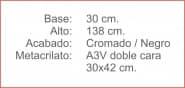 Poste INDICADOR A3 Vertical Cromado Negro