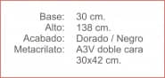 Poste INDICADOR A3 Vertical Dorado Negro