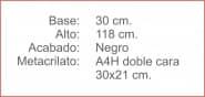 Poste INDICADOR A4 Horizontal Negro