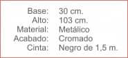 POSTE Separador Catenaria Cromado cinta extensiblen 150 Negro
