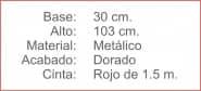 POSTE Separador Catenaria Dorado cinta extensible 150 Rojo
