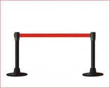 Poste Separador Mini Catenaria Negro cinta extensible 200 Rojo