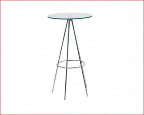 mesa alta sagitario cromado cristal