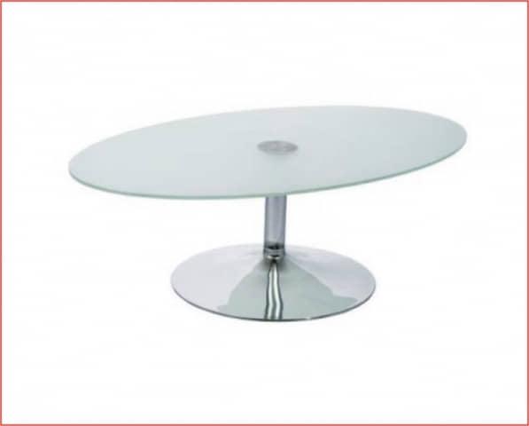 Mesa baja centro pop cromado cristal oval - Mesa baja cristal ...