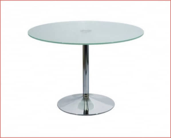 mesa redonda pop cromado cristal 110