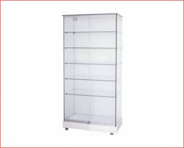 Vitrina blanco cristal 5 estantes - Vitrinas de exposicion ...